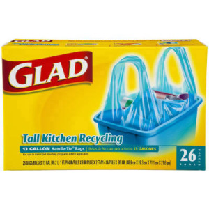 Glad Recycling Bag, Handle Tie, 16 X 8, 13-gallon, .85 Mil, Blue, 26 ...